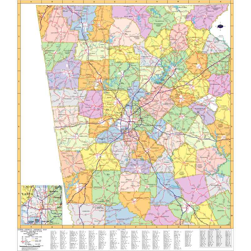 Map Of Counties In Georgia With Cities.Atlanta Georgia Wall Maps Zip Code Maps Aero Surveys Of Georgia