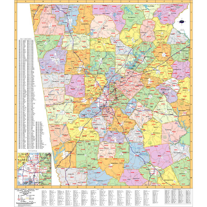 Atlanta Georgia Wall Maps Zip Code Maps Aero Surveys Of Georgia - Counties of georgia map