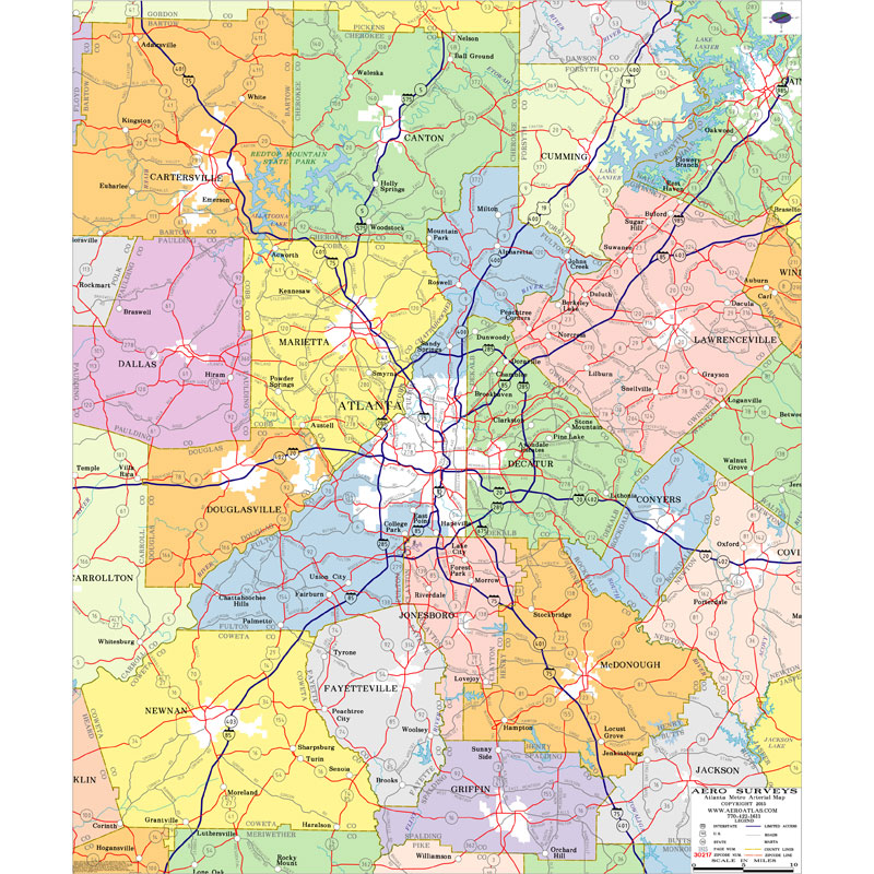 Georgia Map Of Counties And Cities.Atlanta Georgia Wall Maps Zip Code Maps Aero Surveys Of Georgia