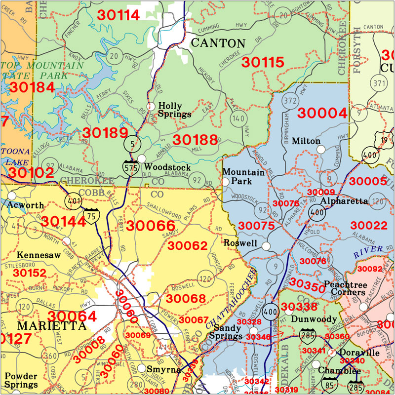 Buford Zip Code Map.Georgia State Highway Zip Code Wall Map Metro Atlanta Zip Code