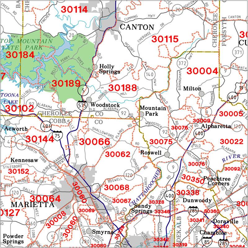 Atlanta Area Zip Code Map Georgia State Highway Zip Code Wall Map   Metro Atlanta Zip Code