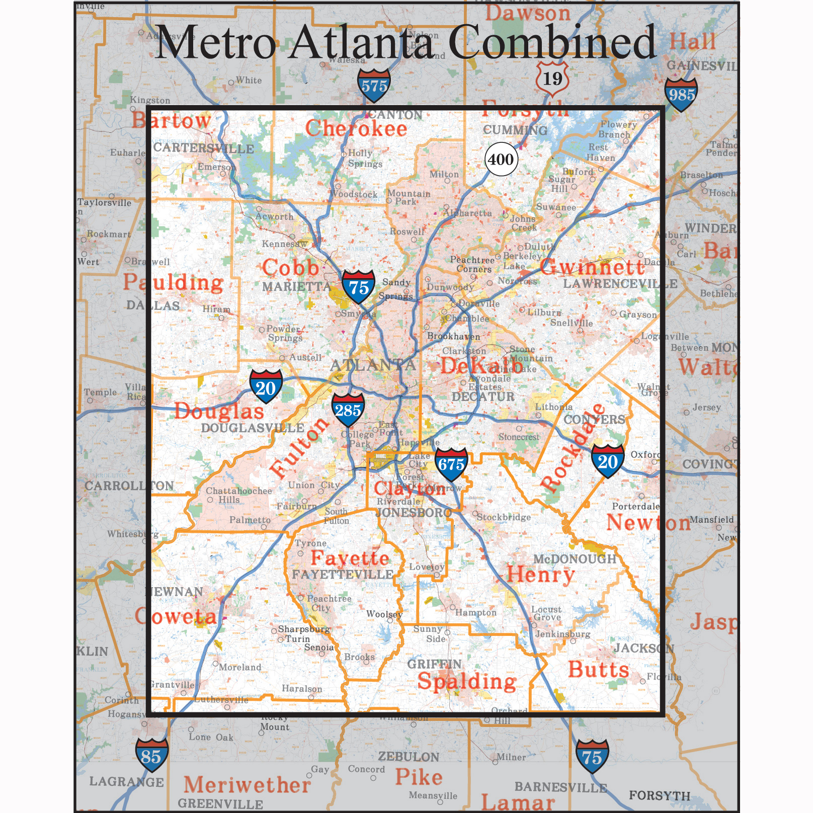 Atlanta Georgia Wall Maps Zip Code Maps Aero Surveys Of Georgia - Map of north ga