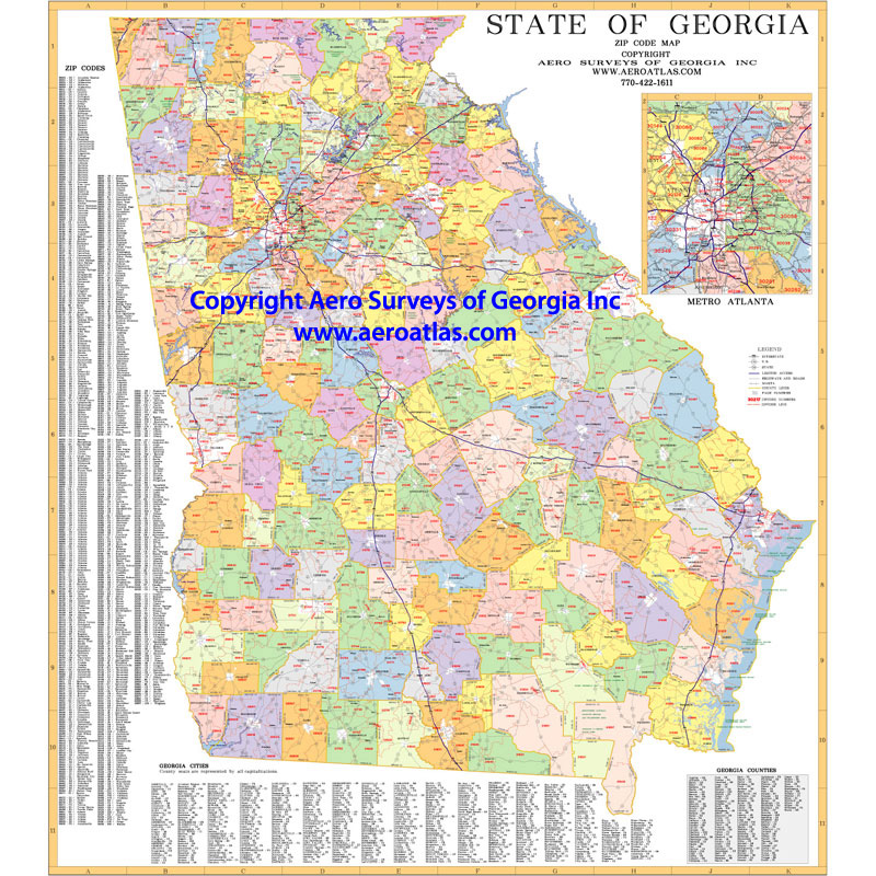 Atlanta Georgia Wall Map Samples Aero Surveys Of Georgia - Atlanta georgia map zip codes